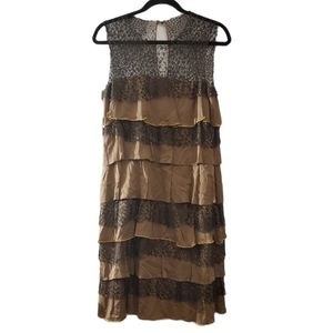 Anna Molinari Brown Tiered Black Lace Dress 46